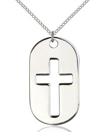 Cross Dog Tag Sterling Silver Pendant