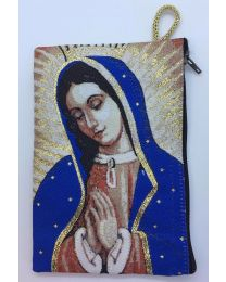 Our Lady of Guadalupe Kilim Rosary Bag-Blue