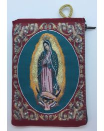 Our Lady of Guadalupe Kilim Rosary Medium Bag-Red