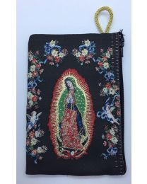 Our Lady of Guadalupe Kilim Rosary Bag-Black