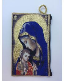 Madonna & Child Kilim Rosary Medium Bag-Blue