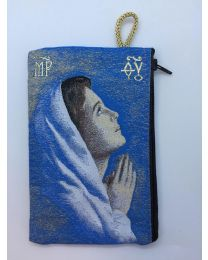 Praying Virgin Mary Kilim Rosary Bag-Blue