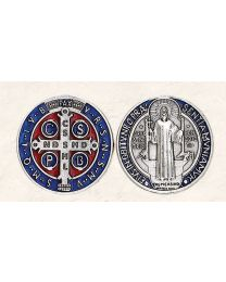 St. Benedict Token with Blue/Red Enamel and Silver Tone Finish