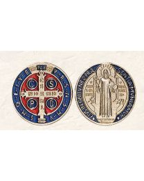 St. Benedict Token with Blue/Red Enamel and Gold Tone Finish
