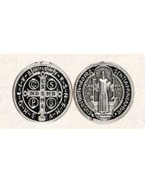 St. Benedict Token with Black Enamel/ Silver Tone Finish