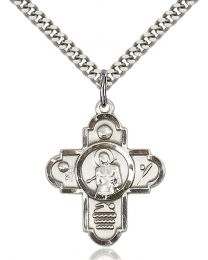 5-Way St Sebastian/Sports Sterling Silver Pendant