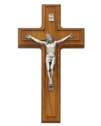 "10"" Walnut Stain Crucifix with Silver Christ"