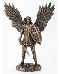 "11"" Archangel St. Michael with Sword & Shield Statue - Bronze"