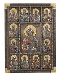 "12"" Jesus and the Apostles Wall Plaque - Bronze"