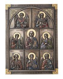 "12"" Jesus and the Seven Archangels Wall Plaque - Bronze"
