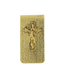 14K Gold Dipped Crucifix Money Clip