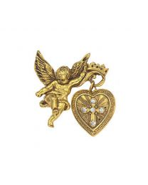 14K Gold Dipped Crystal Glory Of The Cross Locket Brooch