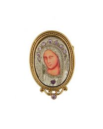 14K Gold Dipped Purple Crystal Iconica Mary Brooch