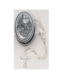 Crystal Heart First Communion Rosary In Pewter Case