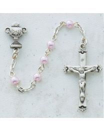 5mm Pink Pearl First Communion Rosary