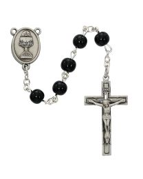 6mm Black Glass First Communion Rosary