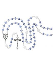 6MM Blue Flower Ceramic First Communion Rosary