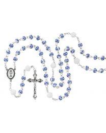 6MM Blue Flower Ceramic First Communion Rosary
