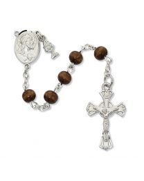 6mm Brown Wood First Communion Rosary