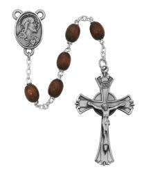Brown Wood & Scapular Medal Rosary