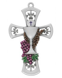 Pewter Chalice Cross with Enamel