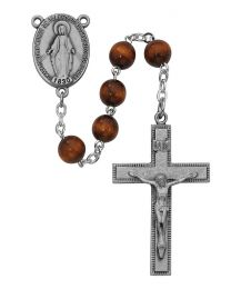 Brown Round Wood Rosary