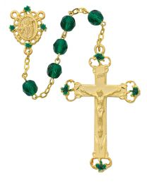 St. Patrick Gold Plated Green Glass Rosary