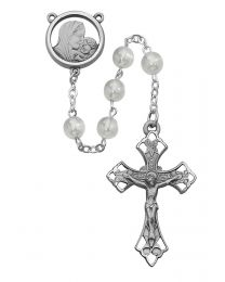 Mother & Child White Glass Rosary