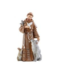 "8"" St. Francis Statue with Prayer Inscription"