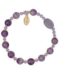 Genuine Amethyst Rosary Bracelet
