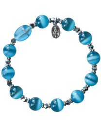 Genuine Blue Cat's Eye Rosary Bracelet