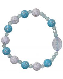 Blue Flower Children's Rosary Bracelet
