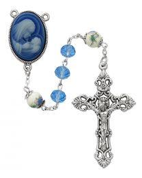 Blue Crystal Cameo Rosary