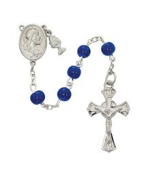 Blue Glass First Communion Rosary