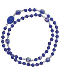 Genuine Blue Crystal Twist Rosary Bracelet