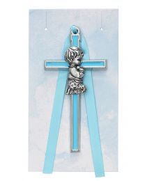 "3.5"" Blue Crib Cross - Boy"