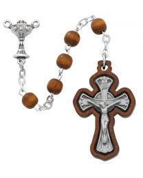 Brown Wood First Communion Rosary