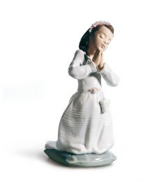 "7.4"" Girl Communion Prayer - Porcelain Statue"