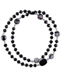 Genuine Black Crystal Twist Rosary Bracelet