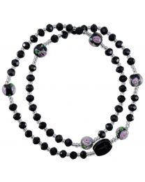 Genuine Black Crystal Twist Rosary Bracelet