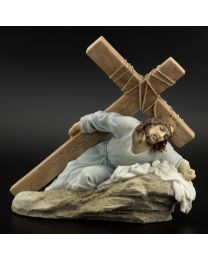 "8.5"" Fallen Jesus with Cross Statue"