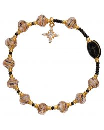 Gold Murano Glass Rosary Bracelet