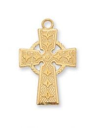 "18kt Gold on Sterling Silver Celtic Cross on 18"" Chain"
