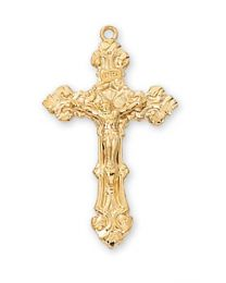 """Gold on Sterling Silver Crucifix on 18"""" Chain"""