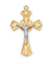 "Gold on Sterling Silver 2 Tone Crucifix on 18"" Chain"