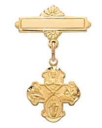 Gold on Sterling Silver 4-Way Cross Baby Pin