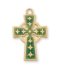 "18kt Gold on Sterling Silver Green Celtic Cross on 18"" Chain"