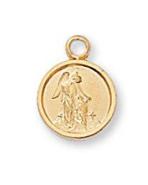 "Guardian Angel Gold on Sterling Silver Medal on 16"" Chain"