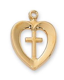 "18kt Gold on Sterling Silver Heart with Cross Pendant on 18"" Chain"