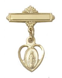 Gold on Sterling Silver Heart Miraculous Medal Baby Pin